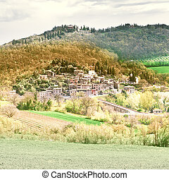 Medieval City - View of the Medieval City in Tuscany, ...