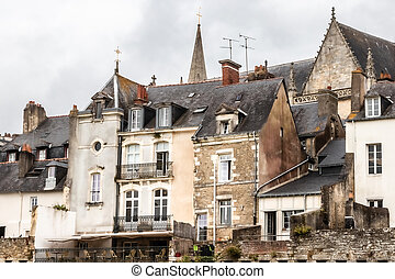 view of the medieval old town of Vannes, in Brittany
