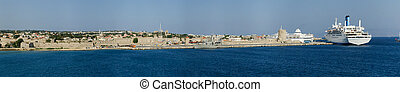 View of the medieval town of Rhodes from the sea (panorama)