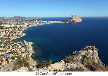 View of the Mediterranean resort Calpe, Costa-Blanca Spain