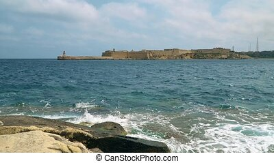 View of the Mediterranean Sea, Fort Ricasoli and the island...