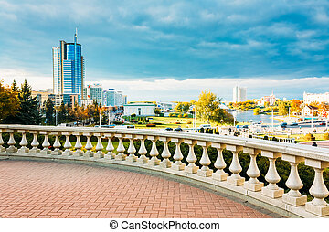 MINSK - OCT 1: View of the modern architecture of Minsk, from the area Nyamiha In Minsk, on October 1, 2013 in Minsk, Belarus.