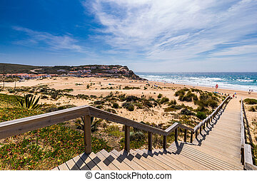 View of the Monte Clerigo beach on the western coastline of ...