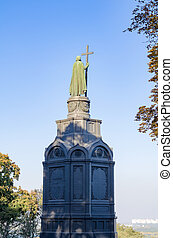 View of the monument of St Vladimir, the Baptist of Russia with the Dnieper river and the city of Kiev