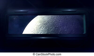 View of the moon from a spaceship.