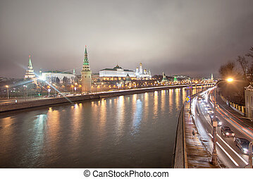 View of the Moscow Kremlin at night. Russia
