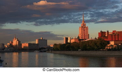 View of the Moscow river at sunset