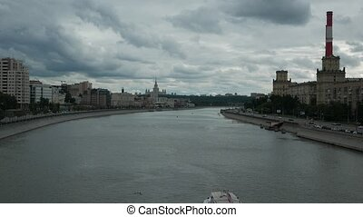 View of the Moscow River Embankment and Moscow State University in the summer. Moscow, Russia. 4k.