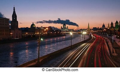 View of the Moscow River from the bridge. Cathedral of Christ. Moscow. Time-Laps