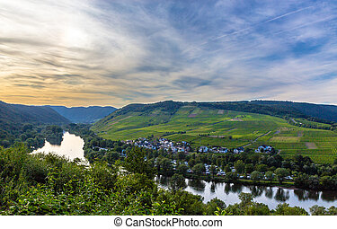 View of the Moselle valley at sunset Panorama