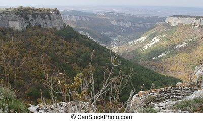 View of the mountain landscape from Mangup plateau in Crimea