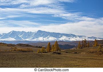 View of the mountain North-Chuya ridge of Altai Republic, Russia.