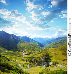 Col du Tourmalet in Pyrenees mountains. France. - View of...