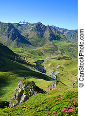 Col du Tourmalet in Pyrenees mountains. France - View of the...