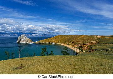 view of the mountain Shamanka Cape Burkhan, island Olkhon