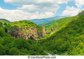 View of the mountain valley and gorge from a height, summer mountain landscape