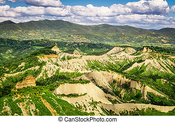 View of the mountainous terrain in Tuscany