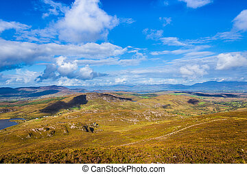 View of the mountains and valleys in Ballycullane in Kerry Ireland