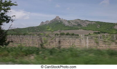 View of the mountains and vineyards from window of a moving car