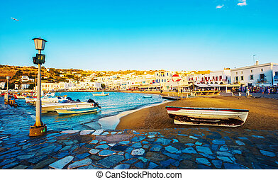 View of the Mykonos island
