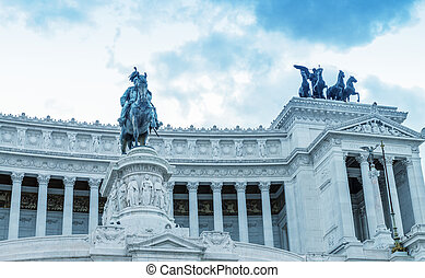 View of the national ,monument a Vittorio Emanuele II on the the