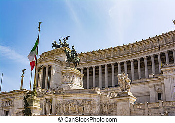 View of the national monument a Vittorio Emanuele II, Piazza Venezia in Rome, Italy