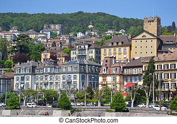 View of the Neuchatel from the lake, in Switzerland