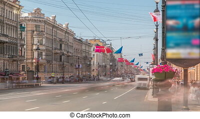 view of the Nevsky Prospekt timelapse near Uprising Square in St Petersburg. Russia