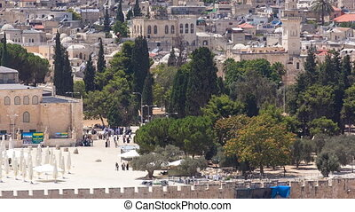 view of the old city andal-aqsa mosque timelapse from the Mount of Olives., Jerusalem, Holy Land