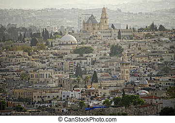 View of the old city from the mount of olives. Jerusalem, israel.