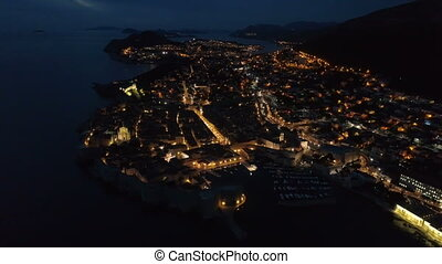 view of the old Dubrovnik from the air at dusk. - view of...