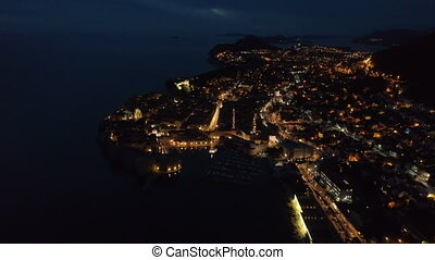 view of the old Dubrovnik from the air at dusk.