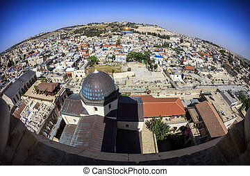 View of the Old Jerusalem from above. Israel.