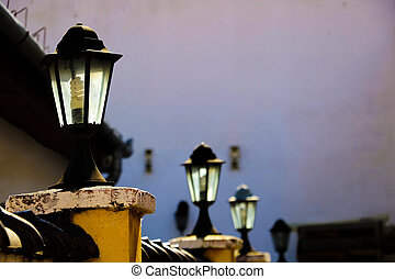 View of the old street lighting in a small town. Selective focus.