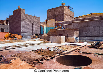 View of the old tannery in Marrakech on a sunny day. Morocco