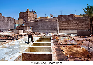 View of the old tannery in Marrakech on a sunny day. Morocco.