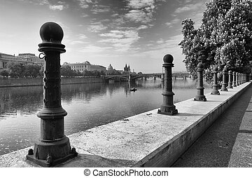 View of the Old Town in Prague from Vltava river bank