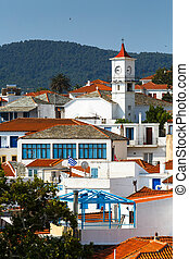 View of the old town of Skopelos, Greece.