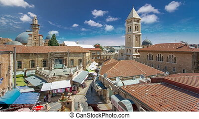 View of the old town timelapse. Jerusalem, Israel. Old city of Jerusalem from top.