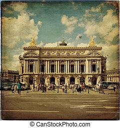 View of the Opera National de Paris Garnier in vintage style