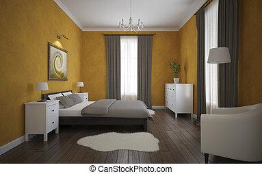 View of the orange bedroom with parquet floor 3D