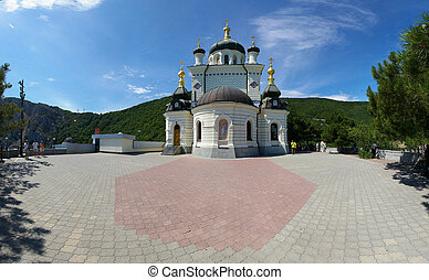 View of the Orthodox Church Foros in Crimea - View of the...