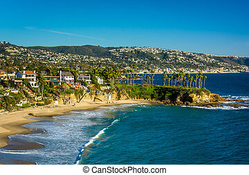 View of the Pacific Coast from Crescent Bay Point Park, in Laguna Beach, California.