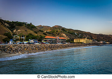 View of the Pacific Coast from the Malibu Pier, in Malibu, California.
