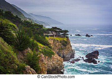 View of the Pacific Coast in Big Sur, California.