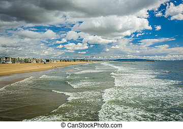 View of the Pacific Ocean and beach in Venice Beach, Los Angeles, California.