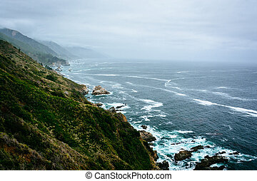 View of the Pacific Ocean from cliffs in Big Sur, California.