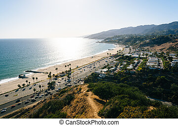 View of the Pacific Ocean in Pacific Palisades, California.