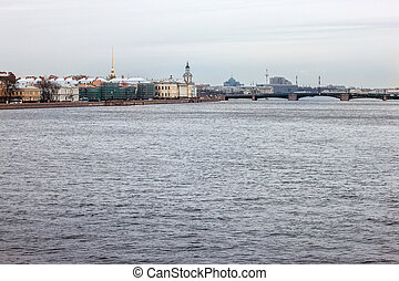 View of the Palace Bridge and the building of the Academy of Sciences in St. Petersburg. Russia.