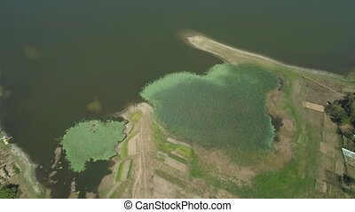 View of the Paoay Lake, Philippines. - Aerial view of Paoay...